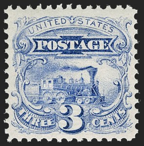 Sale Number 1232, Lot Number 1104, 1869 Pictorial Issue and 1875 Re-Issue (Scott 112-132)3c Ultramarine (114). Mint N.H, 3c Ultramarine (114). Mint N.H