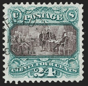 Sale Number 1232, Lot Number 1115, 1869 Pictorial Issue and 1875 Re-Issue (Scott 112-132)24c Green & Violet, Re-Issue (130), 24c Green & Violet, Re-Issue (130)