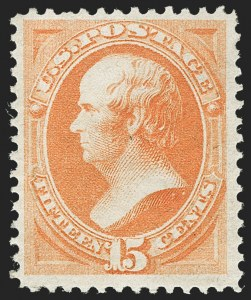 Sale Number 1232, Lot Number 1135, 1870-93 Bank Note Issue (Scott 134-229)15c Yellow Orange (163), 15c Yellow Orange (163)