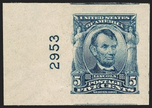 Sale Number 1232, Lot Number 1232, 1902-08 Issues (Scott 300-320)5c Blue, Imperforate (315), 5c Blue, Imperforate (315)