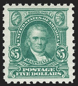 Sale Number 1232, Lot Number 1327, 1916-17 Issues (Scott 462-550)$5.00 Light Green (480), $5.00 Light Green (480)