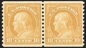 Sale Number 1232, Lot Number 1332, 1916-17 Issues (Scott 462-550)10c Orange Yellow, Coil (497), 10c Orange Yellow, Coil (497)