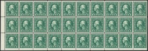 Sale Number 1232, Lot Number 1334, 1916-17 Issues (Scott 462-550)1c Green, A.E.F. Booklet Pane (498f), 1c Green, A.E.F. Booklet Pane (498f)