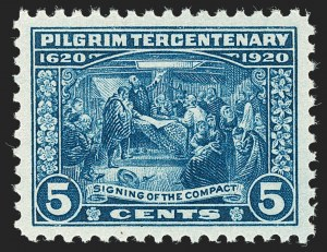 Sale Number 1232, Lot Number 1363, 1916-17 Issues (Scott 462-550)5c Pilgrim Tercentenary (550), 5c Pilgrim Tercentenary (550)