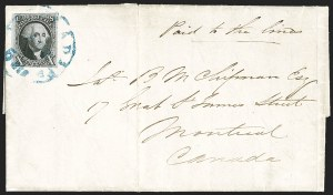 Sale Number 1232, Lot Number 1551, Stampless Covers thru 1861 Issue10c Black (2), 10c Black (2)
