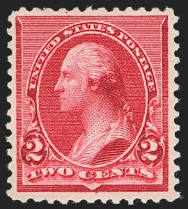 "Sale Number 1234, Lot Number 228, 1890-93 Issue (Scott 219-229)2c Carmine, Cap on Both ""2""'s (220c), 2c Carmine, Cap on Both ""2""'s (220c)"