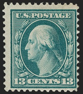 Sale Number 1234, Lot Number 319, 1908-10 Washington-Franklin Issues including Bluish Paper (Scott 356-365)13c Bluish Green, Bluish (365), 13c Bluish Green, Bluish (365)
