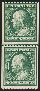 Sale Number 1234, Lot Number 320, 1908-12 Issues (Scott 385-404)1c Green, Coil (385), 1c Green, Coil (385)