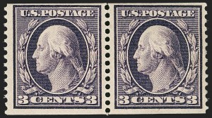 Sale Number 1234, Lot Number 324, 1908-12 Issues (Scott 385-404)3c Deep Violet, Orangeburg Coil (389), 3c Deep Violet, Orangeburg Coil (389)