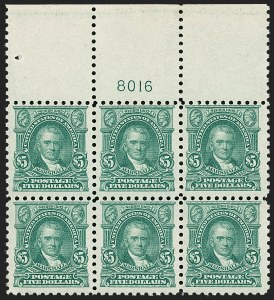 Sale Number 1234, Lot Number 341, 1912-23 Issues (Scott 445-491)$5.00 Light Green (480), $5.00 Light Green (480)