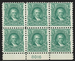 Sale Number 1234, Lot Number 342, 1912-23 Issues (Scott 445-491)$5.00 Light Green (480), $5.00 Light Green (480)
