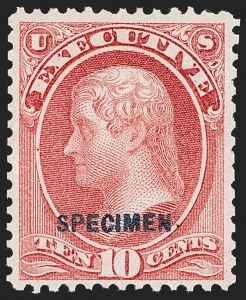 Sale Number 1234, Lot Number 412, Official Special Printings (Interior, Justice, Navy, Post Office)1c-10c Executive, Specimen Ovpt. (O10S-O14S), 1c-10c Executive, Specimen Ovpt. (O10S-O14S)