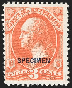 Sale Number 1234, Lot Number 413, Official Special Printings (Interior, Justice, Navy, Post Office)3c Interior, Specimen Ovpt. (O17S), 3c Interior, Specimen Ovpt. (O17S)