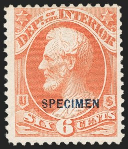 Sale Number 1234, Lot Number 414, Official Special Printings (Interior, Justice, Navy, Post Office)6c Interior, Specimen Ovpt. (O18S), 6c Interior, Specimen Ovpt. (O18S)