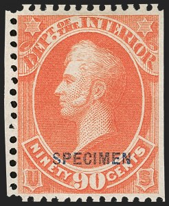 Sale Number 1234, Lot Number 420, Official Special Printings (Interior, Justice, Navy, Post Office)90c Interior, Specimen Ovpt. (O24S), 90c Interior, Specimen Ovpt. (O24S)