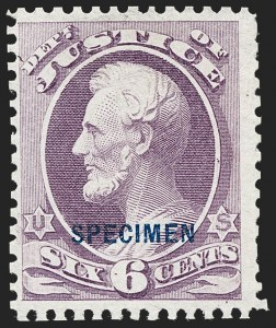 Sale Number 1234, Lot Number 422, Official Special Printings (Interior, Justice, Navy, Post Office)6c Justice, Specimen Ovpt. (O28S), 6c Justice, Specimen Ovpt. (O28S)