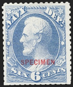 Sale Number 1234, Lot Number 430, Official Special Printings (Interior, Justice, Navy, Post Office)6c Navy, Specimen Ovpt. (O38S), 6c Navy, Specimen Ovpt. (O38S)
