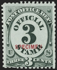 Sale Number 1234, Lot Number 438, Official Special Printings (Interior, Justice, Navy, Post Office)3c Post Office, Specimen Ovpt. (O49S), 3c Post Office, Specimen Ovpt. (O49S)