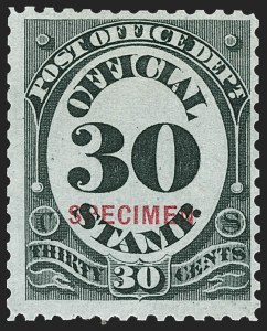 Sale Number 1234, Lot Number 444, Official Special Printings (Interior, Justice, Navy, Post Office)30c Post Office, Specimen Ovpt. (O55S), 30c Post Office, Specimen Ovpt. (O55S)