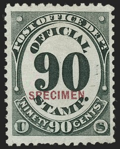 Sale Number 1234, Lot Number 445, Official Special Printings (Interior, Justice, Navy, Post Office)90c Post Office, Specimen Ovpt. (O56S), 90c Post Office, Specimen Ovpt. (O56S)