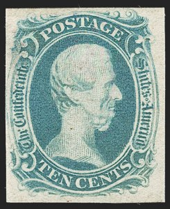 "Sale Number 1234, Lot Number 536, Carrier, Confederate States10c Blue, ""TEN"" (9), 10c Blue, ""TEN"" (9)"