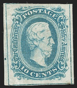 Sale Number 1234, Lot Number 537, Carrier, Confederate States10c Blue, Frameline (10), 10c Blue, Frameline (10)