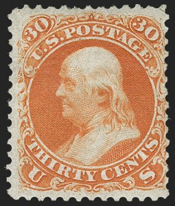 Sale Number 1234, Lot Number 81, 1861-66 Issue (Scott 56-78)30c Red Orange, First Color (61), 30c Red Orange, First Color (61)