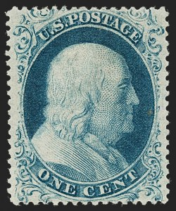 Sale Number 1235, Lot Number 1014, 1857-60 Issue (Scott 18-39)1c Blue, Ty. I (18), 1c Blue, Ty. I (18)