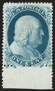 Sale Number 1235, Lot Number 1015, 1857-60 Issue (Scott 18-39)1c Blue, Ty. Ia (19), 1c Blue, Ty. Ia (19)