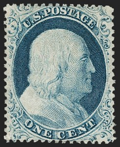 Sale Number 1235, Lot Number 1019, 1857-60 Issue (Scott 18-39)1c Blue, Ty. IV (23), 1c Blue, Ty. IV (23)