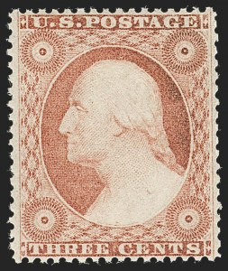 Sale Number 1235, Lot Number 1022, 1857-60 Issue (Scott 18-39)3c Dull Red, Ty. III (26). Mint N.H, 3c Dull Red, Ty. III (26). Mint N.H