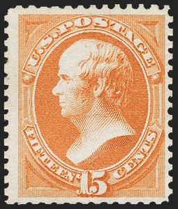 Sale Number 1235, Lot Number 1140, 1875 Continental Bank Note Co. Hard Paper Special Printing (Scott 167-177)15c Bright Orange, Special Printing (174), 15c Bright Orange, Special Printing (174)