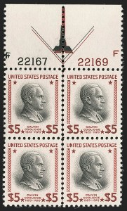 Sale Number 1235, Lot Number 1424, 1925 and Later Issues (Scott 647-2419b)$5.00 Presidential (834), $5.00 Presidential (834)