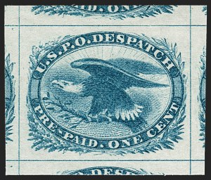 Sale Number 1235, Lot Number 1546, Eagle Carrier, Postal Stationery, Hunting Permits, Confederate States1c Blue, Eagle Carrier (LO2), 1c Blue, Eagle Carrier (LO2)