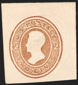 Sale Number 1235, Lot Number 1548, Eagle Carrier, Postal Stationery, Hunting Permits, Confederate States2c Brown on Cream, Die 48, Full Corner (U124; UPSS 298), 2c Brown on Cream, Die 48, Full Corner (U124; UPSS 298)