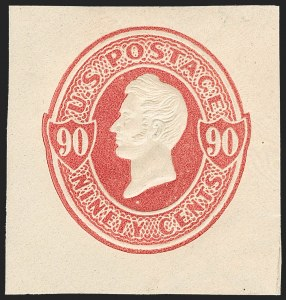 Sale Number 1235, Lot Number 1549, Eagle Carrier, Postal Stationery, Hunting Permits, Confederate States90c Carmine on Cream, Centennial entire (U213 var; USPSS 635a ), 90c Carmine on Cream, Centennial entire (U213 var; USPSS 635a )
