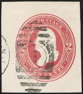 Sale Number 1235, Lot Number 1550, Eagle Carrier, Postal Stationery, Hunting Permits, Confederate States2c Carmine on White, Die 81, Cut Square (U285 var), 2c Carmine on White, Die 81, Cut Square (U285 var)