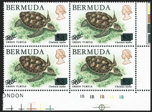 Sale Number 1236, Lot Number 2170, Bermuda Modern IssuesBERMUDA, 1986, 90c on $3.00 Green Turtle, Double Surcharge (509 Footnote; SG 534a), BERMUDA, 1986, 90c on $3.00 Green Turtle, Double Surcharge (509 Footnote; SG 534a)