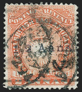 "Sale Number 1236, Lot Number 2180, British Central Africa thru British East AfricaBRITISH EAST AFRICA, 1891, -1/2a on 2a Vermilion, Manuscript ""A.D."" (31; SG 20), BRITISH EAST AFRICA, 1891, -1/2a on 2a Vermilion, Manuscript ""A.D."" (31; SG 20)"
