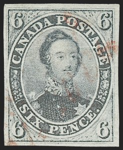 Sale Number 1236, Lot Number 2251, Canada - 1851 Pence Issues thru Small QueensCANADA, 1851, 6p Grayish Purple, Laid Paper (2b; SG 3), CANADA, 1851, 6p Grayish Purple, Laid Paper (2b; SG 3)
