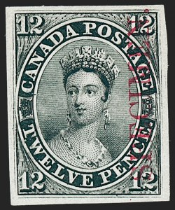 "Sale Number 1236, Lot Number 2252, Canada - 1851 Pence Issues thru Small QueensCANADA, 1851, 12p Black, Plate Proof on India, Vertical Carmine ""Specimen"" Overprint (Unitrade 3Pi), CANADA, 1851, 12p Black, Plate Proof on India, Vertical Carmine ""Specimen"" Overprint (Unitrade 3Pi)"