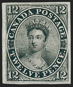 Sale Number 1236, Lot Number 2253, Canada - 1851 Pence Issues thru Small QueensCANADA, 1851, 12p Black, Laid Paper (3; SG 4), CANADA, 1851, 12p Black, Laid Paper (3; SG 4)