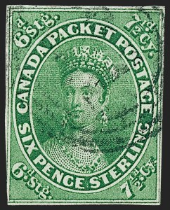 Sale Number 1236, Lot Number 2255, Canada - 1851 Pence Issues thru Small QueensCANADA, 1857, 7-1/2p Green (9; SG 12), CANADA, 1857, 7-1/2p Green (9; SG 12)