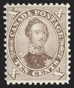 Sale Number 1236, Lot Number 2257, Canada - 1851 Pence Issues thru Small QueensCANADA, 1859, 10c Brown, Perf 11-3/4 (17b; SG 36), CANADA, 1859, 10c Brown, Perf 11-3/4 (17b; SG 36)