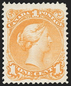 Sale Number 1236, Lot Number 2258, Canada - 1851 Pence Issues thru Small QueensCANADA, 1868, 1c Yellow Orange (23; SG 56a), CANADA, 1868, 1c Yellow Orange (23; SG 56a)