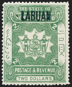 Sale Number 1236, Lot Number 2426, Kuwait thru LabuanLABUAN, 1905, $2.00 Gray Green (121; SG 140), LABUAN, 1905, $2.00 Gray Green (121; SG 140)