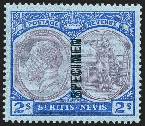 "Sale Number 1236, Lot Number 2472, St. Kitts-Nevis thru SamoaST. KITTS-NEVIS, 1922, 2sh Ultramarine & Violet on Blue, Double ""Specimen"" Overprint (SG 47asa), ST. KITTS-NEVIS, 1922, 2sh Ultramarine & Violet on Blue, Double ""Specimen"" Overprint (SG 47asa)"
