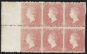 Sale Number 1236, Lot Number 2475, St. Kitts-Nevis thru SamoaST. VINCENT, 1861, 1p Rose, Horizontal Pair, Imperforate Vertically (1c; SG 1a), ST. VINCENT, 1861, 1p Rose, Horizontal Pair, Imperforate Vertically (1c; SG 1a)