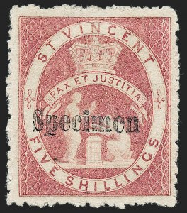 "Sale Number 1236, Lot Number 2476, St. Kitts-Nevis thru SamoaST. VINCENT, 1880, 5sh Rose, ""Specimen"" Overprint (29S; SG 32s), ST. VINCENT, 1880, 5sh Rose, ""Specimen"" Overprint (29S; SG 32s)"