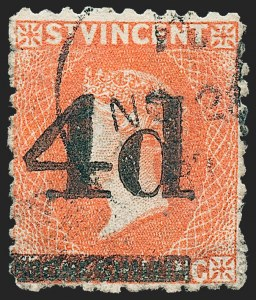 Sale Number 1236, Lot Number 2477, St. Kitts-Nevis thru SamoaST. VINCENT, 1881, 4p on 1sh Vermilion (33; SG 35), ST. VINCENT, 1881, 4p on 1sh Vermilion (33; SG 35)